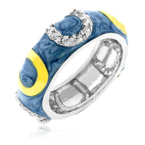 Jocelyn 1ct CZ Blue Enamel White Gold Rhodium Horse Shoe Band