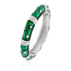 Mara Dark Green Enamel White Gold Rhodium Stacker Ring