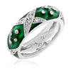 Christina Marbled Forest Green Enamel White Gold Rhodium Eternity Ring