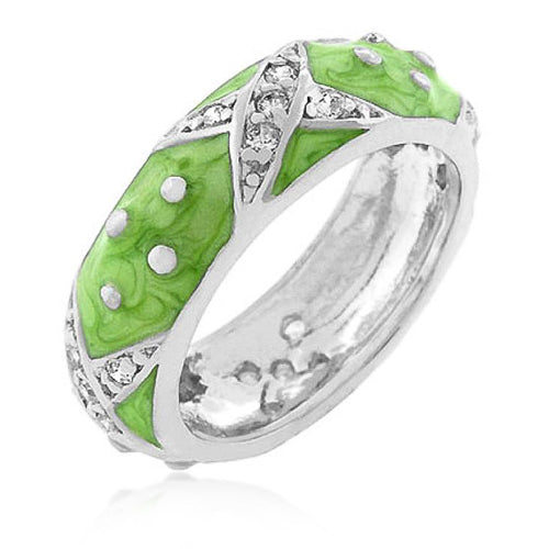 Christina Marbled Apple Green Enamel White Gold Rhodium Eternity Ring