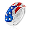 Betsy 0.5ct CZ White Gold Rhodium Enamel Patriot Ring