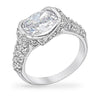 Hilary 4ct CZ White Gold Rhodium Vintage-Inspired Ring
