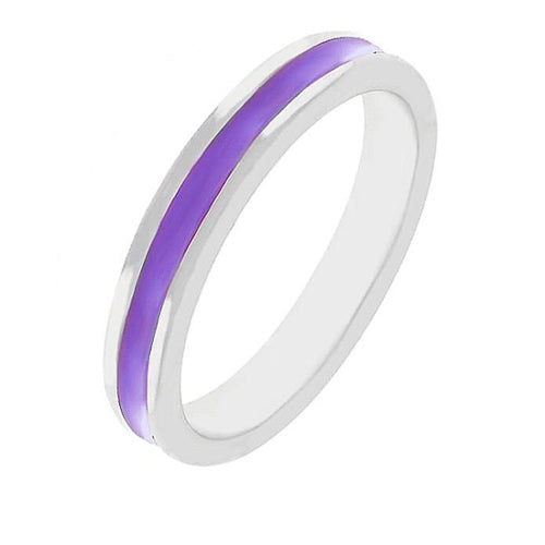 Theresa Purple Enamel White Gold Rhodium Eternity Band