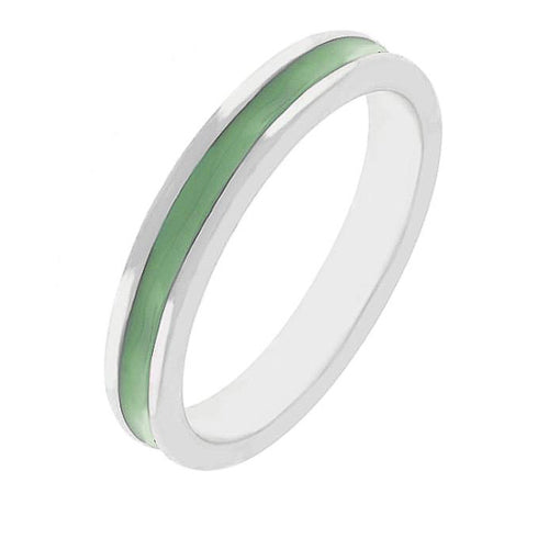Theresa Olive Green Enamel White Gold Rhodium Eternity Band