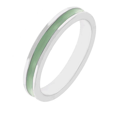 Theresa Light Green Enamel White Gold Rhodium Eternity Band