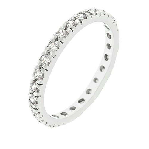 Tasha 3.5ct Clear CZ White Gold Rhodium Eternity Band