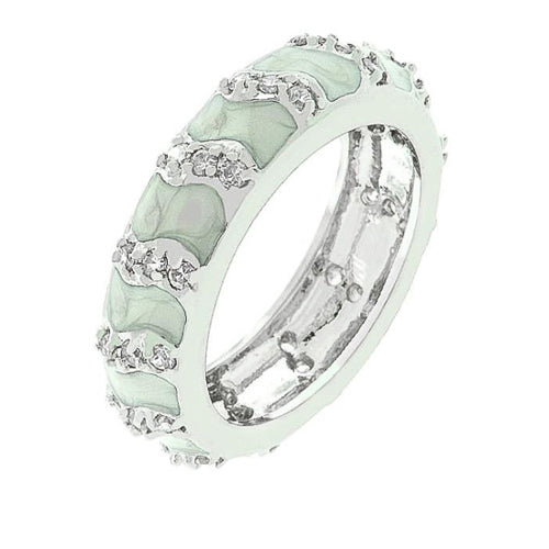 Gretta 2.6ct CZ White Gold Rhodium Eternity Gray Enamel Ring