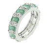 Gretta 2.6ct CZ White Gold Rhodium Eternity Aqua Enamel Ring