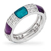 Lori 4.5ct CZ White Gold Rhodium Blue and Purple Enamel Ring