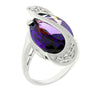 Paula 14.8ct Amethyst CZ White Gold Rhodium Statement Ring