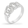 Lina 1.5ct CZ White Gold Rhodium Linked Heart Ring