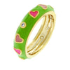 Teena 0.4ct CZ 14k Gold Tropical Enamel Eternity Ring