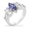 Victoria 4ct Tanzanite CZ White Gold Rhodium Marquise Ring