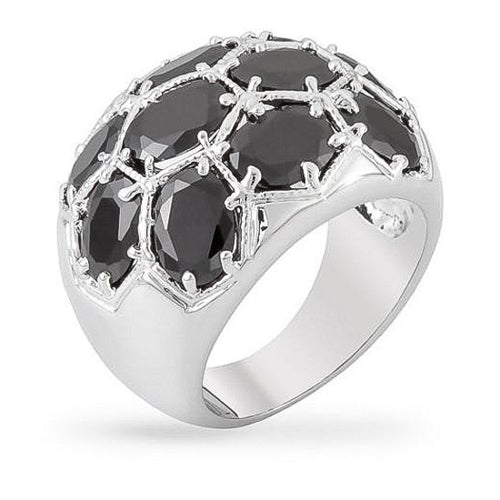 Analee 10ct Jet Black CZ White Gold Rhodium Statement Ring