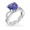 Fatima 6ct Tanzanite CZ White Gold Rhodium Ring
