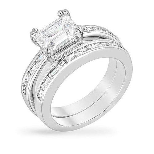 Bria 3ct CZ White Gold Rhodium Baguette Wedding Set