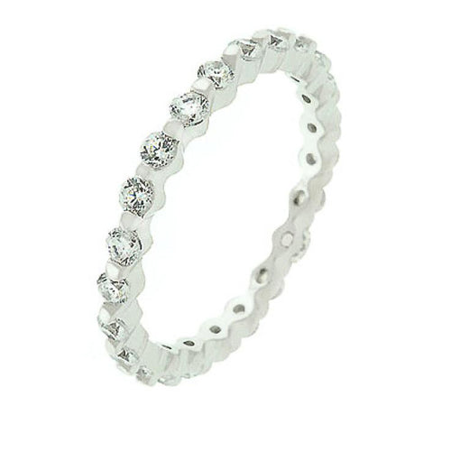 Grace 1.2ct CZ White Gold Rhodium Delicate Eternity Band
