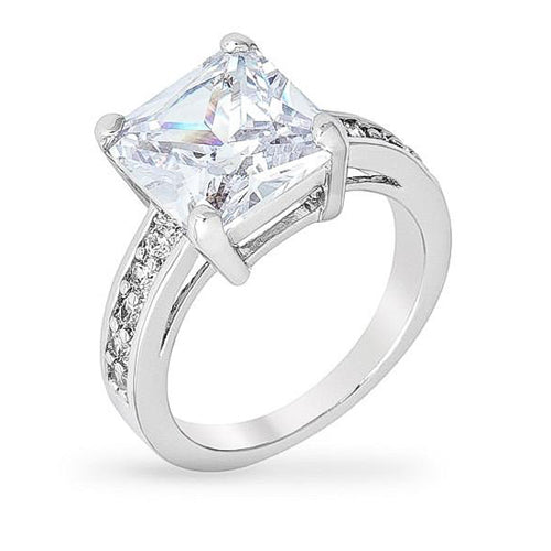 Rina 5.2ct CZ White Gold Rhodium Ring