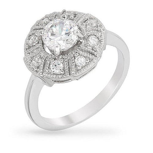 Daisy 1.5ct CZ White Gold Rhodium Art Deco Engagement Ring