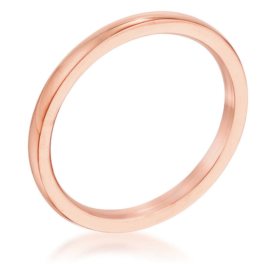 2 mm IPG Rose Goldtone Stainless Steel Wedding Band