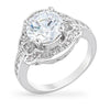Lynn 4ct CZ White Gold Rhodium Vintage-Inspired Ring