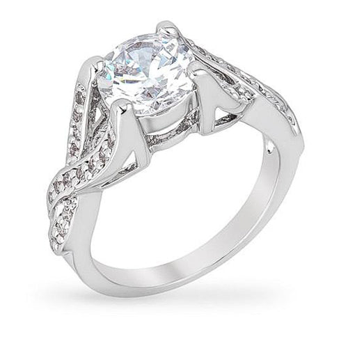 Olivia 2ct CZ White Gold Rhodium Twist Engagement Ring