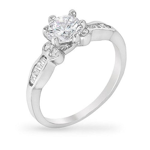 Geneva 2.3ct CZ White Gold Rhodium Classic Ring