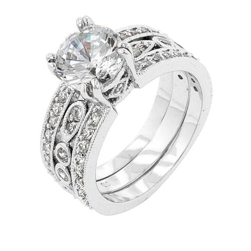Eleanor 6.8ct CZ White Gold Rhodium Wedding Set