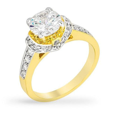Kate 4.1ct CZ Two-Tone Engagement Ring