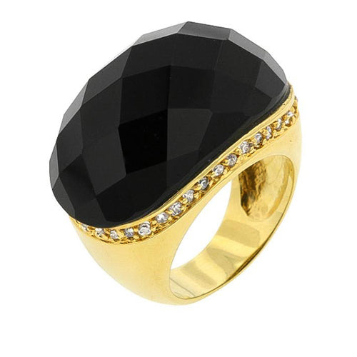 Emmeline 0.4ct CZ 14k Gold Onyx Cocktail Ring