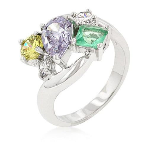 Andi 3.4ct Multicolor CZ White Gold Rhodium Bejeweled Cocktail Ring