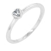 Lana 0.1ct Clear CZ White Gold Rhodium Simple Heart Ring