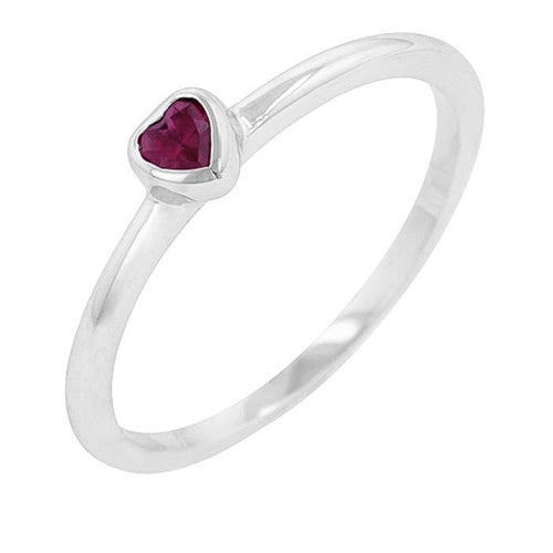 Lana 0.1ct Ruby CZ White Gold Rhodium Simple Heart Ring