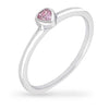 Lana 0.1ct Pink CZ White Gold Rhodium Simple Heart Ring