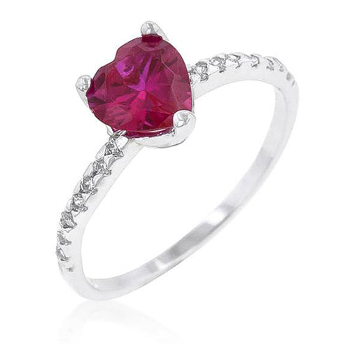 Rachelle 2.1ct Ruby CZ White Gold Rhodium Heart Ring