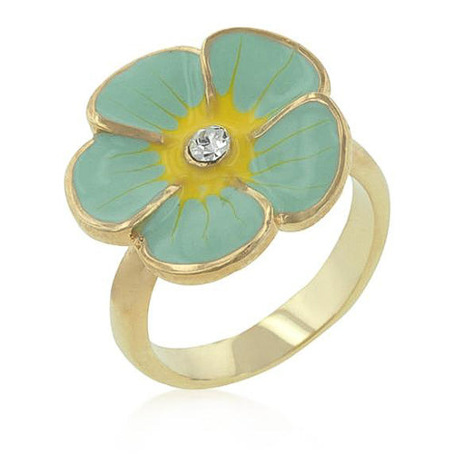 Andy Crystal 14k Gold Blue Enamel Garden Ring