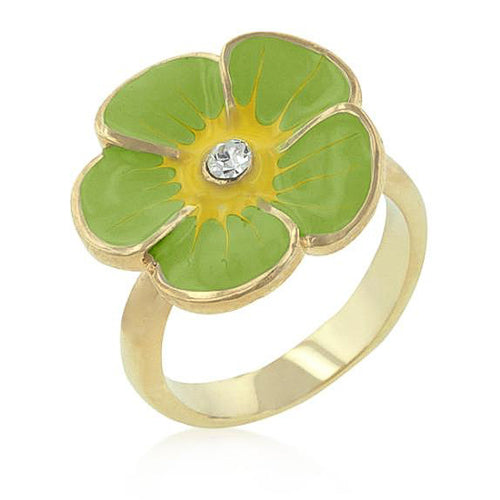 Andy Crystal 14k Gold Green Enamel Garden Ring