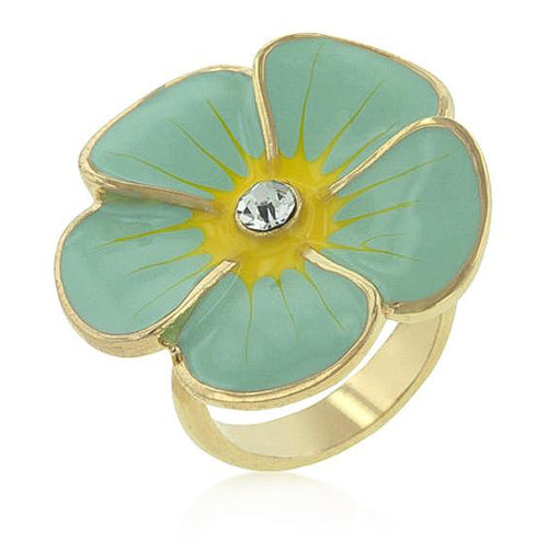 Andria Crystal 14k Gold Blue Enamel Garden Ring