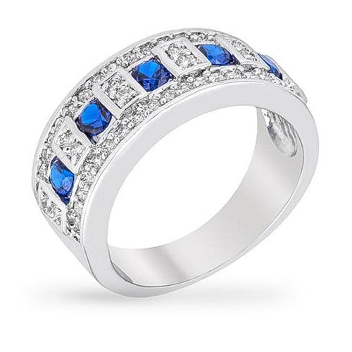 Maya 6.8ct Sapphire and Clear CZ White Gold Rhodium Band