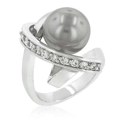 Silvia 2.4ct CZ White Gold Rhodium Dark Grey Pearl Ring