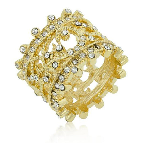 Cassandra Crystal 14k Gold Filigree Ring