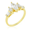 Mara 2.5ct CZ 14k Gold Triple Marquise Ring