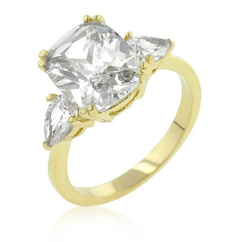 Wendy 5ct CZ 14k Goldtone Radiant Cut Engagement Trio Ring