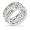 Amelia Clear Crystal White Gold Rhodium Wide Floral Ring