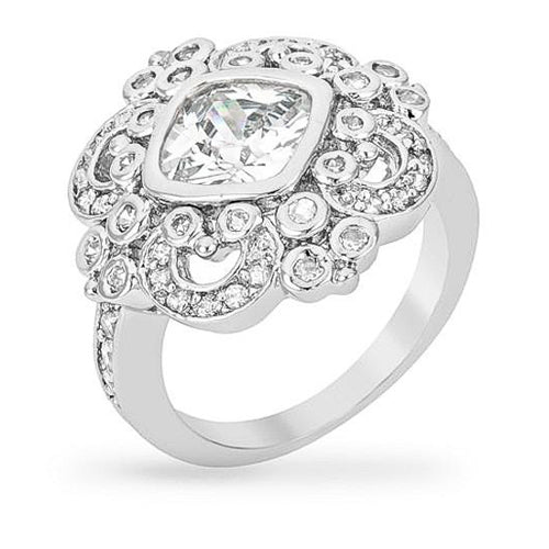 Fergie 11.4ct CZ White Gold Rhodium Cocktail Ring