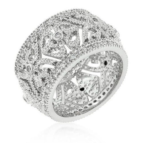 Krista 0.9ct CZ White Gold Rhodium Filigree Crest Ring
