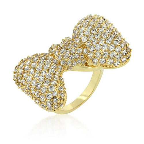 Stephanie 9.7ct CZ 14k Gold Bow Cocktail Ring