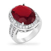 Krystal 6ct Garnet CZ White Gold Rhodium Ring
