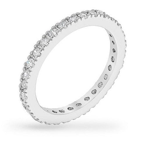 Eli 2.5ct CZ White Gold Rhodium Band