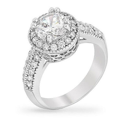 Darcy 3ct CZ White Gold Rhodium Art Deco Engagement Ring